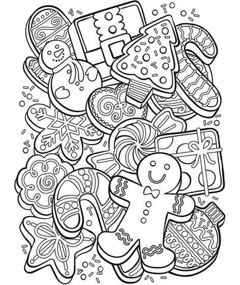 Christmas Cookie Collage Coloring Page Crayola Com Crayola Coloring Pages Printable Christmas Coloring Pages Christmas Coloring Sheets