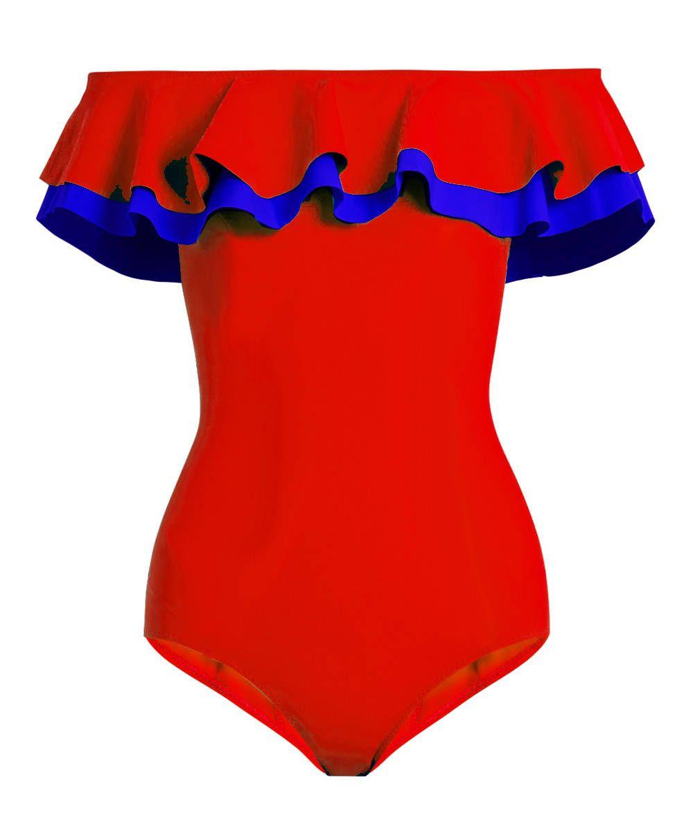 adf8041b1e1be Red Blue Flounce Bonded Ruffled Off Shoulder Handmade One Piece Swimsuit  Swimwear Bathing suit Swim wear dress Beachwear for Women Womens S M L XL  by ...