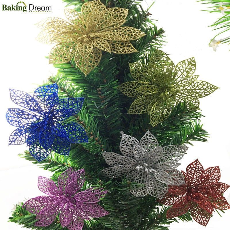 New Christmas Trees Flowers Decorations Glitter Hollow Wedding Home Party Decor