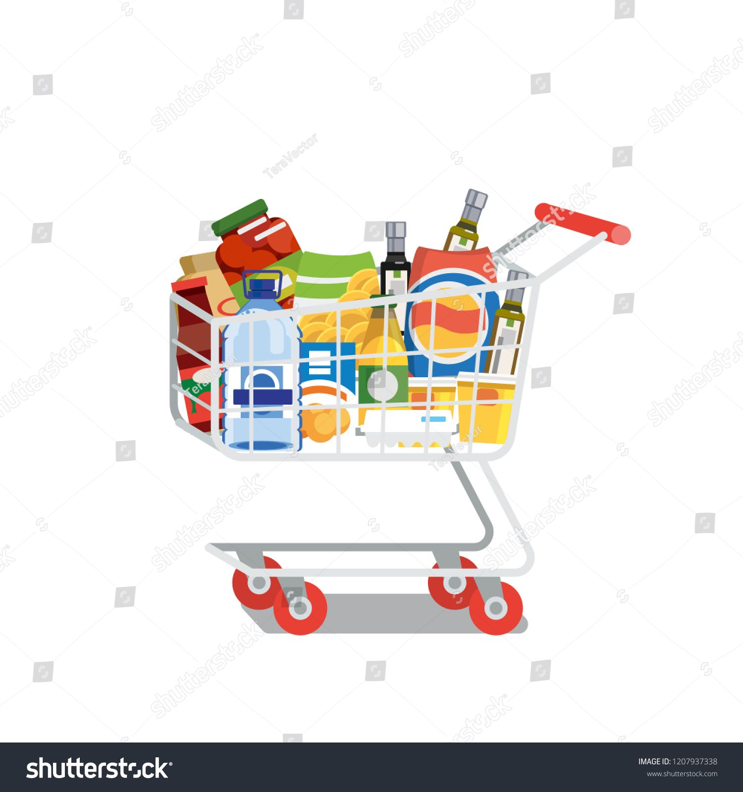 Supermarket Cart Or Trolley Full Of Food Products And Drinks Flat Vector Illustration Isolated On White Backgr Supermarket Flat Illustration Stock Illustration