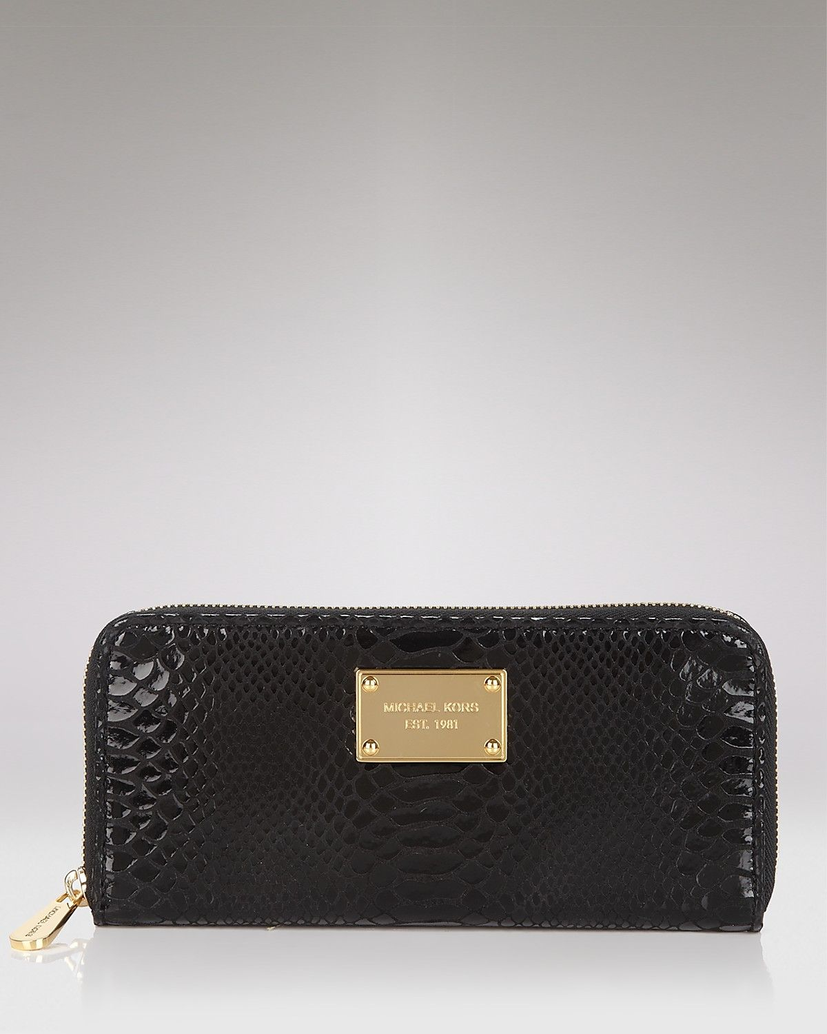 e8381b9224db2 MICHAEL Michael Kors Jet Set Python-Embossed Patent Leather Continental  Wallet
