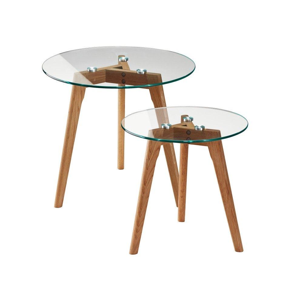 couchtisch falsled (2er-set, eiche-massivholz, glas) - dänisches, Moderne