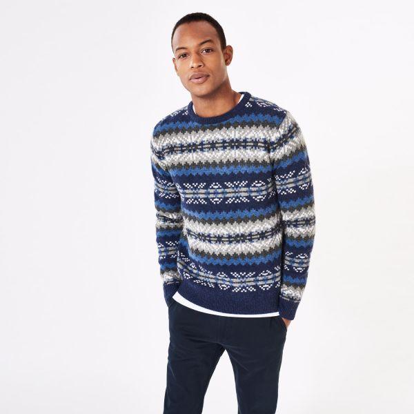 GANT: Blue Fair Isle Crew Sweater Men's | GANT USA Store | Мужики ...