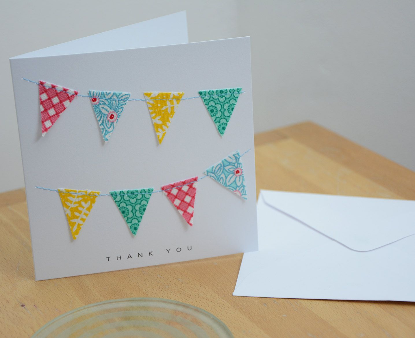 Bunting Thank You Cards Pack Of Six Buntings Cellophane Wrap