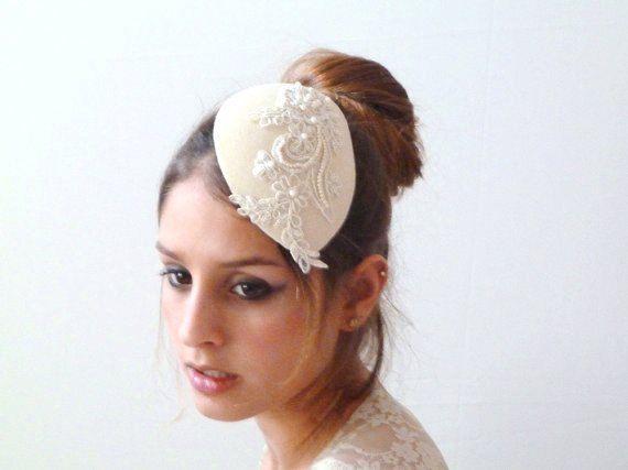 Teardrop Ivory Wedding Hat Cocktail Hat Pearl beaded lace Embellishment Bridal Hair accessories,Wedding bridal Fascinator,wedding headpiece