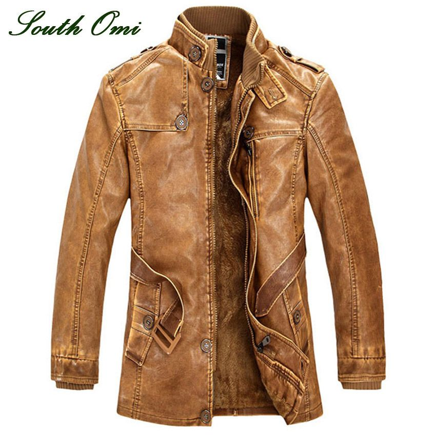 leather jackets Men coats Winter warm motorcycle Leather jacket ...