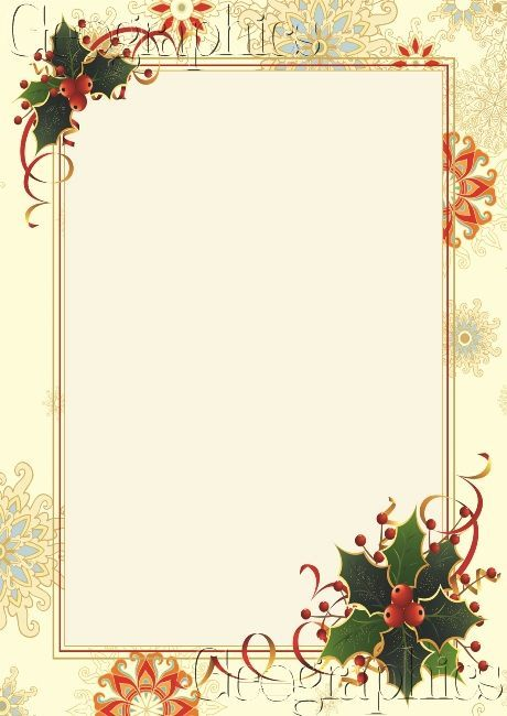 Free Templates Of Christmas Letterhead  Snowflake  Holly Gold