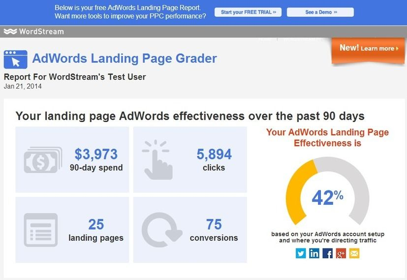 the adwords landing page grader try our new free landing