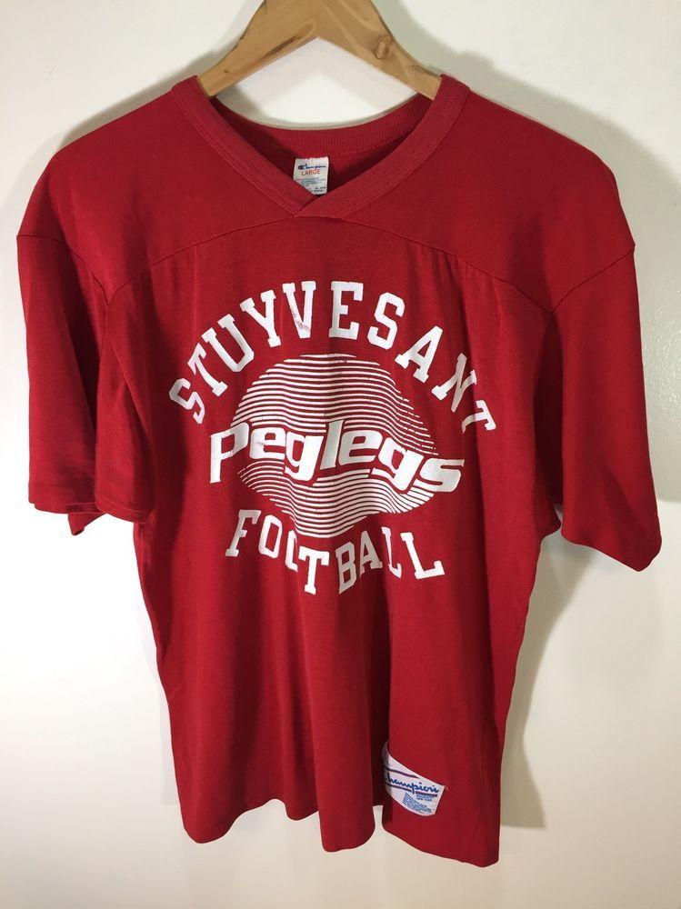 94e555ac25f8 Stuyvesant High School PEGLEGS NYC Vintage Champion Football Jersey Large   Champion