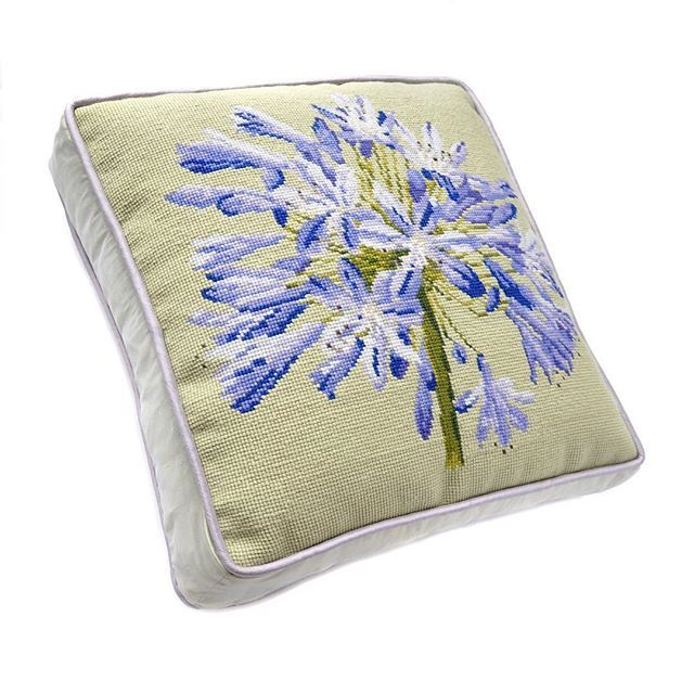 Our Agapanthus on Pale Green Boxed Elizabeth Bradley Home pillow is a beautiful piece to add to a sunroom! • • #needlepointpillows #needlepoint #luxury