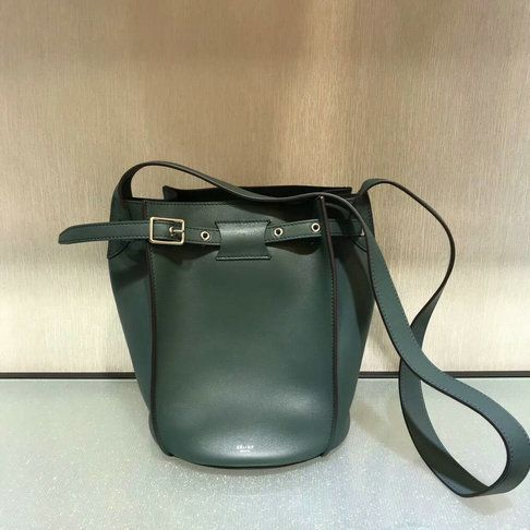 Celine Big Bag Bucket with long strap in green leather  f0b1f5974995b