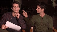 Tyler Posey and Dylan O'brien: feral Stiles gif -this makes me laugh every time