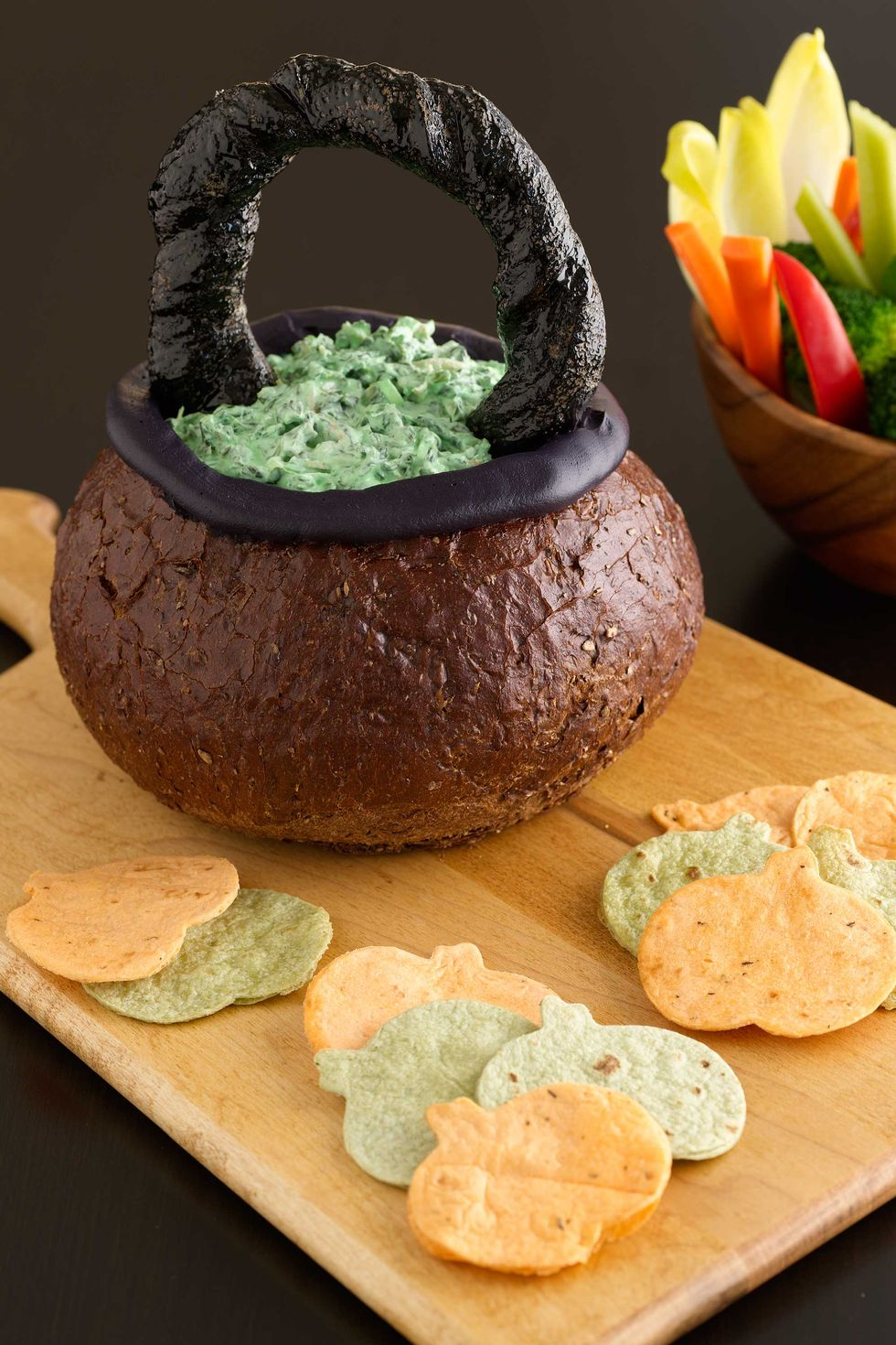 Spooky Spinach Dip in Bread Bowl Cauldron Recipe