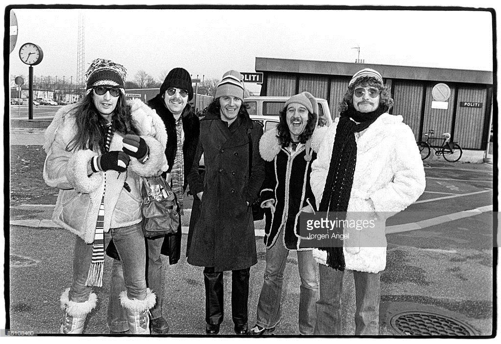 Photo of URIAH HEEP; Uriah Heep, Ken Hensley Lee Kerslake John Wetton Mick Box David Byron, February 1976. Denmark