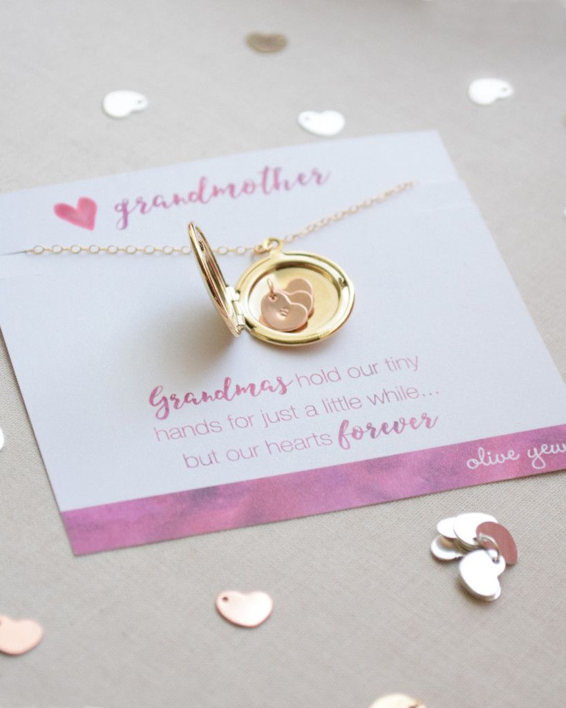 Grandmother Locket Necklace with heartfelt card and gift-ready ...