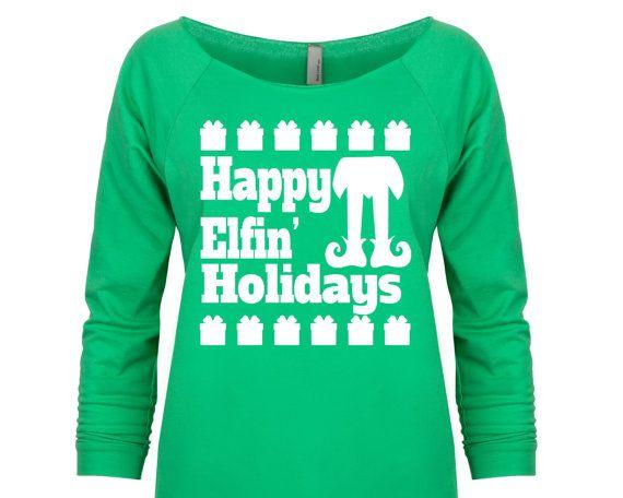 Ugly Christmas Sweater Merry Elfin Xmas Elf Design Happy Holidays