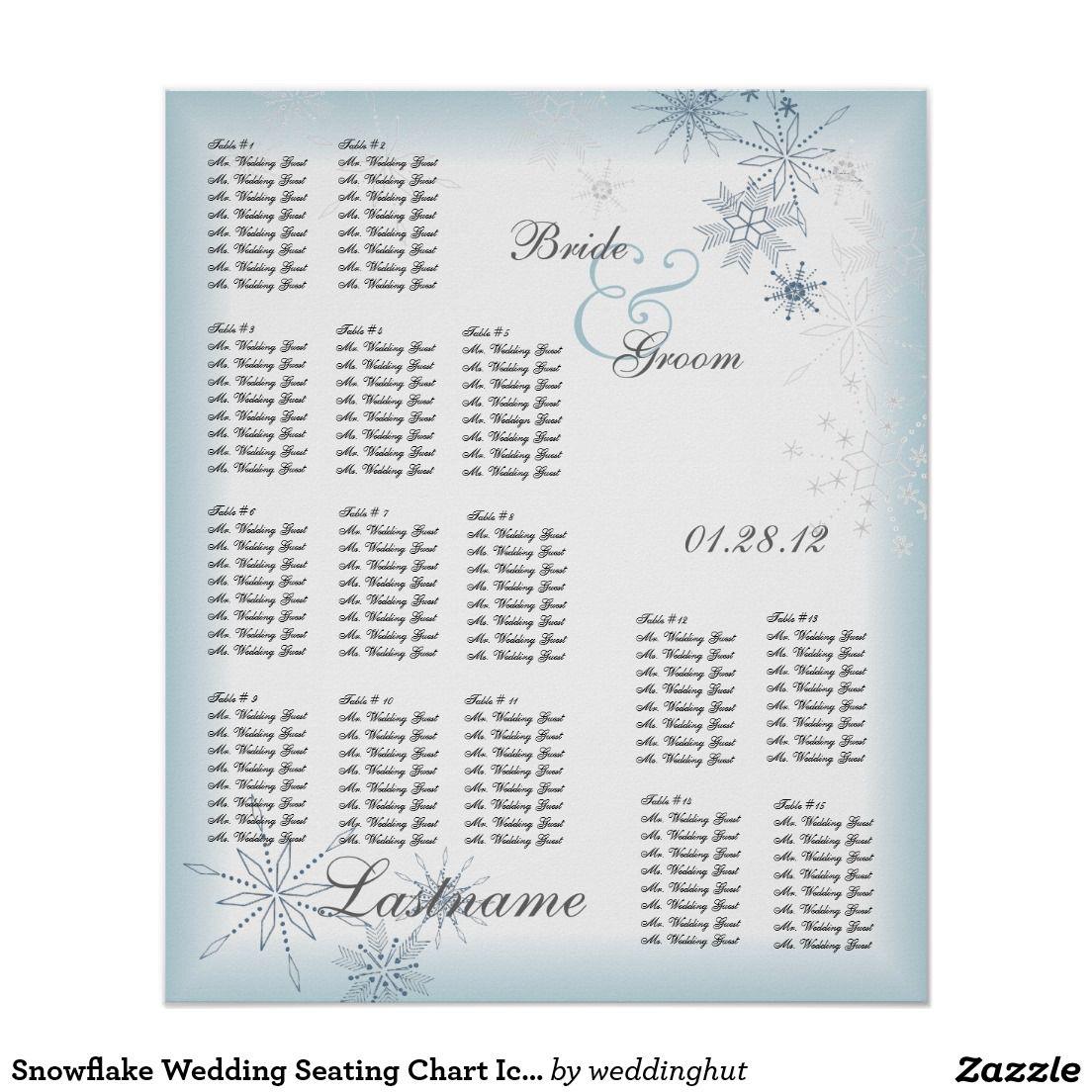 Snowflake Wedding Seating Chart Ice Blue Poster
