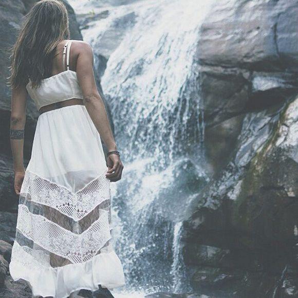 Chasing Waterfalls in white dresses