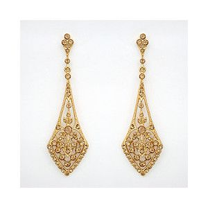 Deco Drop Earrings Gold Topaz Evening Bridal Ea Polyvore 110