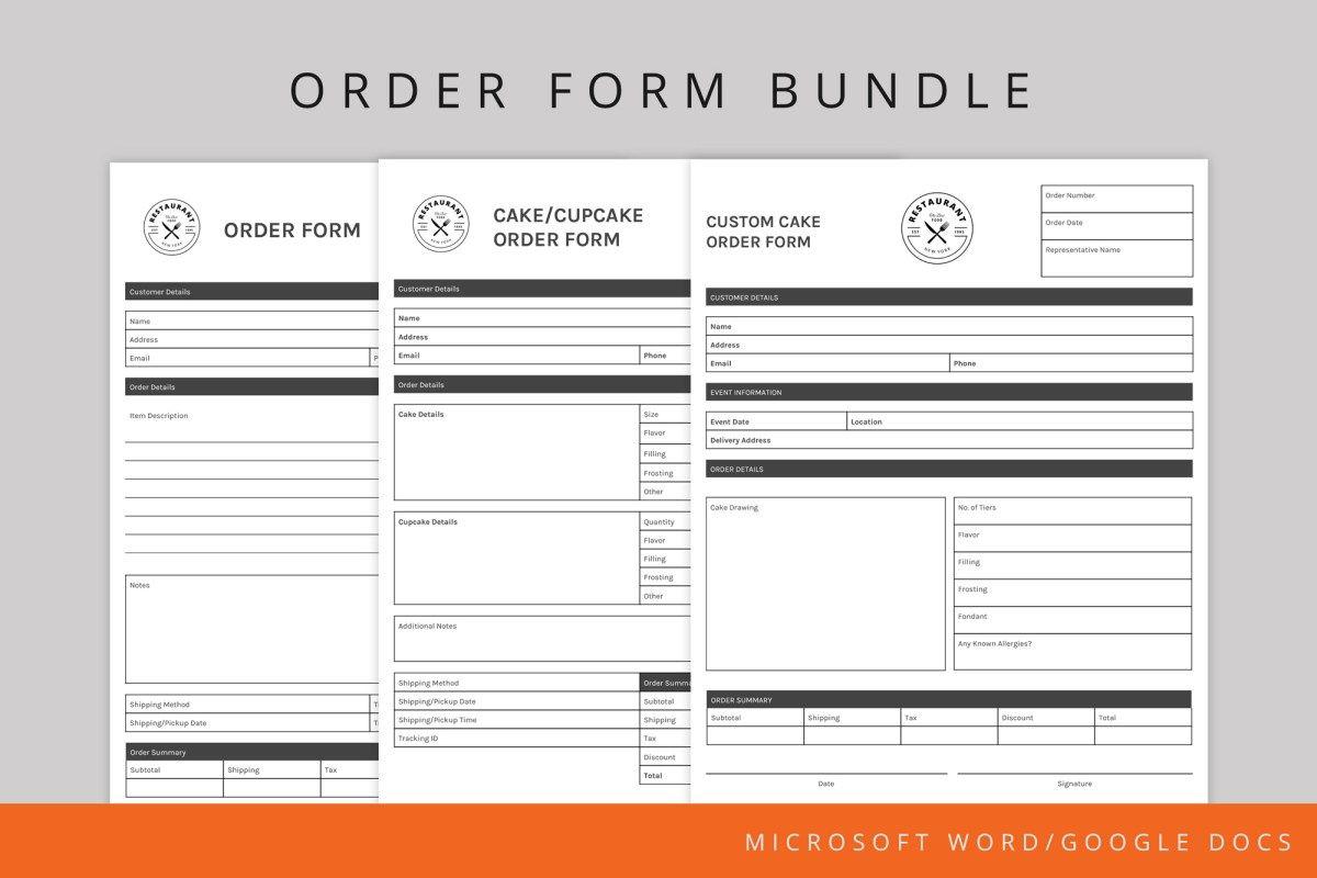 Order Form Template Bundle Template Google Menu Template