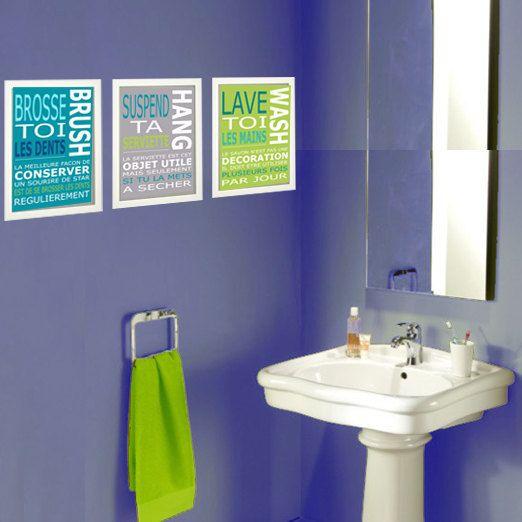 3 affiches enfant citation, règles de la salle de bain, bleu, vert - salle de bains enfants