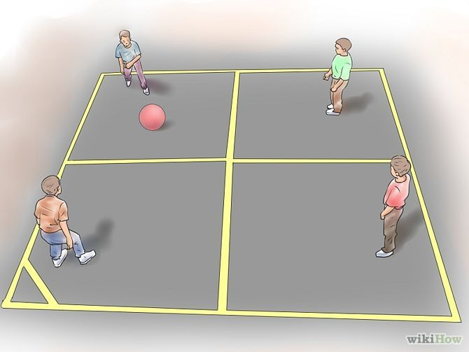 How To Play Four Square Four Square Kids Party Games Childhood Games