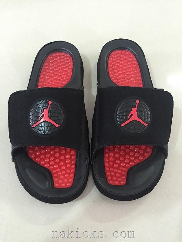 240468eaeb5212 Mens Jordan Hydro 9 Slide Sandals Bred Black Red