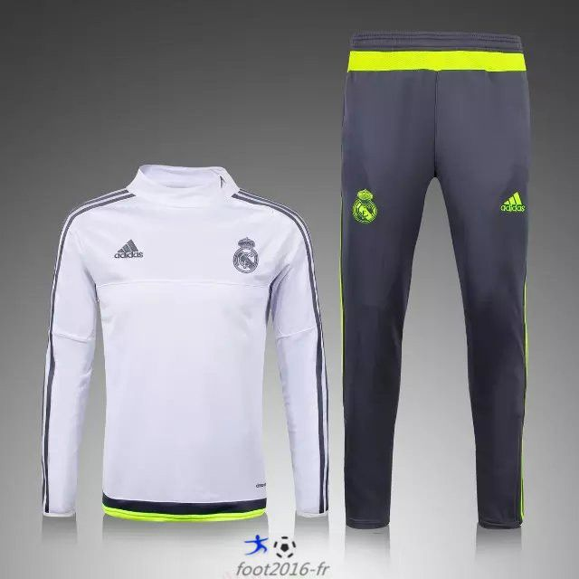 096397ba3e76b la boutique officiel Nouveau Survetement de foot Real Madrid Blanc 2015 2016  -03 shopping