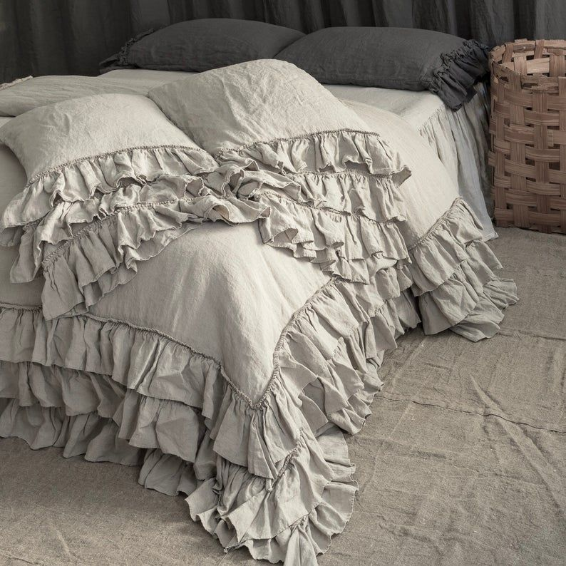 Linen Duvet Cover Set French Style Thick Ruffled Stonewashed Etsy Bed Linens Luxury Bed Linen Design Linen Duvet Covers