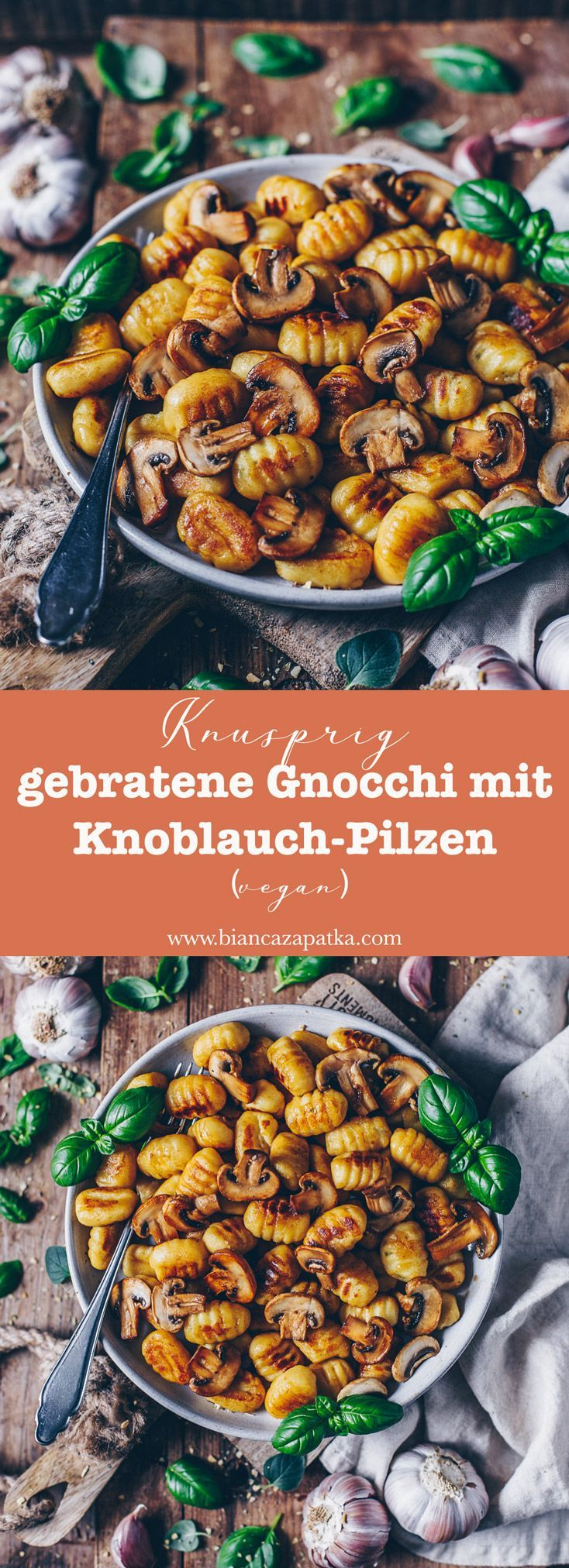 Knusprig gebratene Gnocchi mit Knoblauch-Pilzen (vegan) #vegetarischerezepte