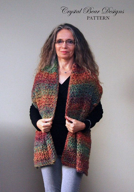 Crochet Wrap PATTERN / Shawl With Buttons / Easy Beginner Pattern ...