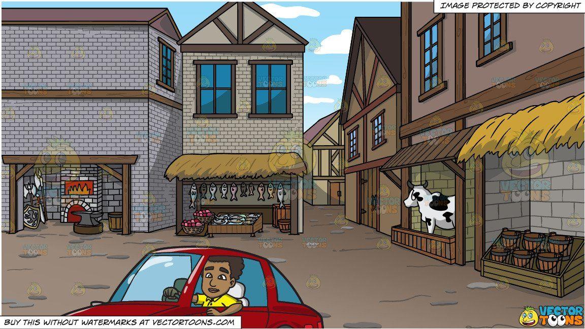 Old street market stock illustration. Illustration of pencil - 57276528