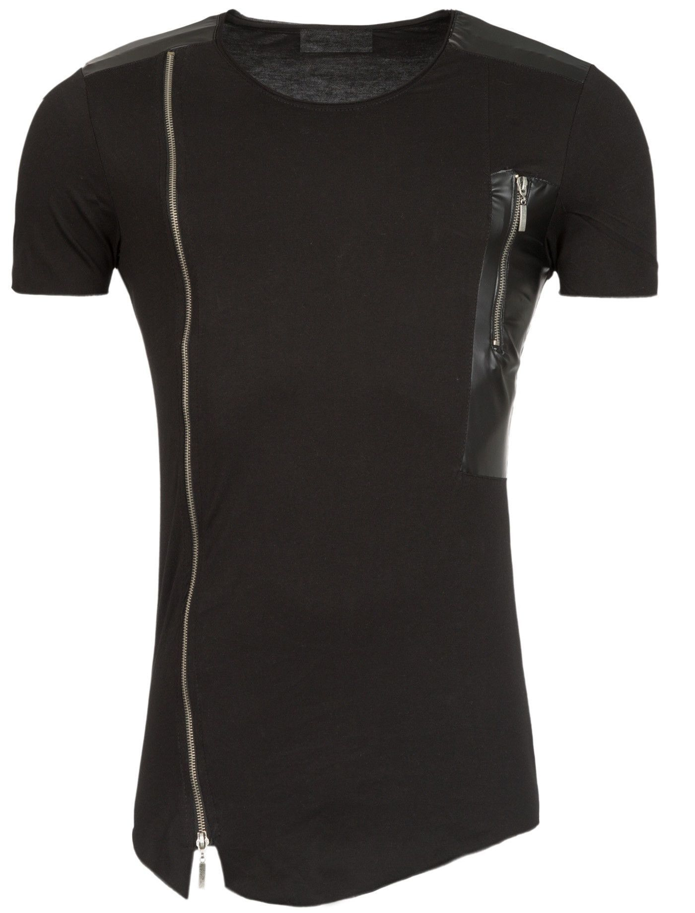 Black t shirt with zipper - This Is A T Shirt For Men In Black With Two Closures One Located On The Left Side And The Other End On The Right Side But Smaller