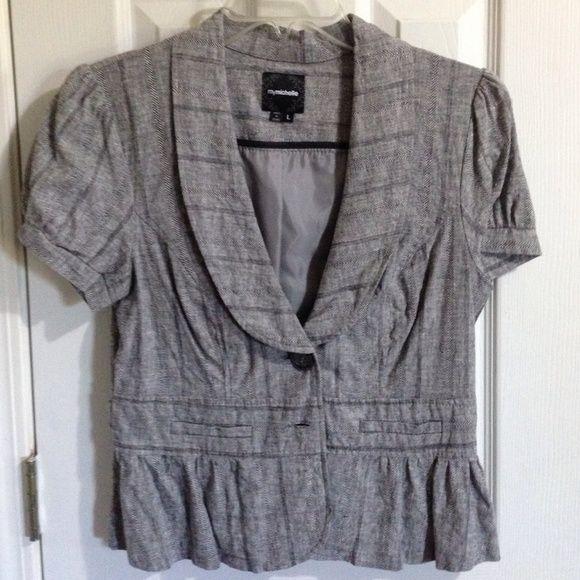 Gray Short Sleeve Dress Jacket Fashionable open breasted short sleeve jacket My Michelle Jackets & Coats Blazers