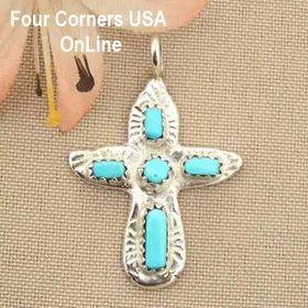 Artisan Turquoise Sterling Cross Zuni Silversmith Cecilia Iule Four Corners USA OnLine Native American Jewelry