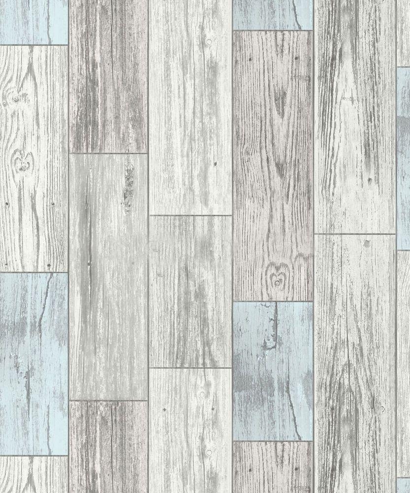 Wood Effect Wallpaper Wooden Plank Panel Rustic Faux Realistic Blue