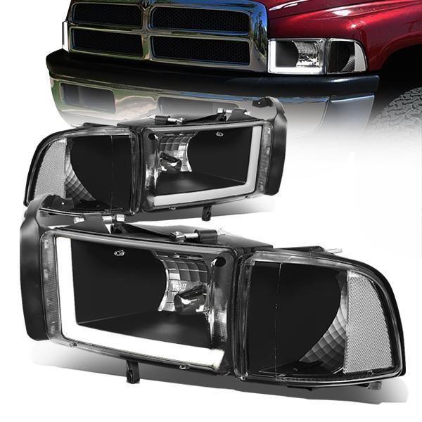 94 02 Dodge Ram 1500 2500 3500 Led Drl Headlights Black Housing Clear Corner Dodge Ram 1500 Ram 1500 Dodge Ram