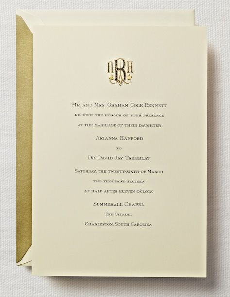Crane And Co Wedding Etiquette For Invitations Create Wedding Invitations Monogram Wedding Invitations Wedding Invitation Etiquette