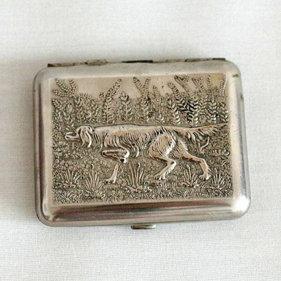 Vintage cigarette case business card holder hunting dog vintage cigarette case business card holder by cherryshop colourmoves