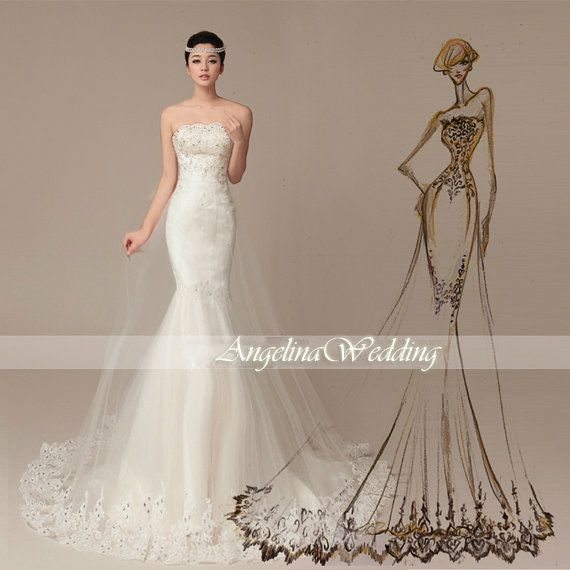 Design  sheath wedding dress Tailing / Elegant by AngelinaWedding, $329.00