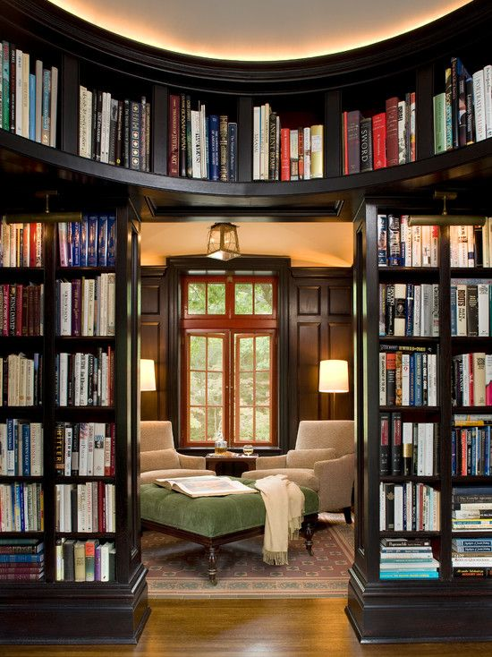 Love the idea of a cool dark curved library with library shelves on either  side of