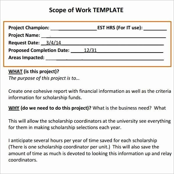 Simple Statement Of Work Template Elegant 7 Construction Scope Of