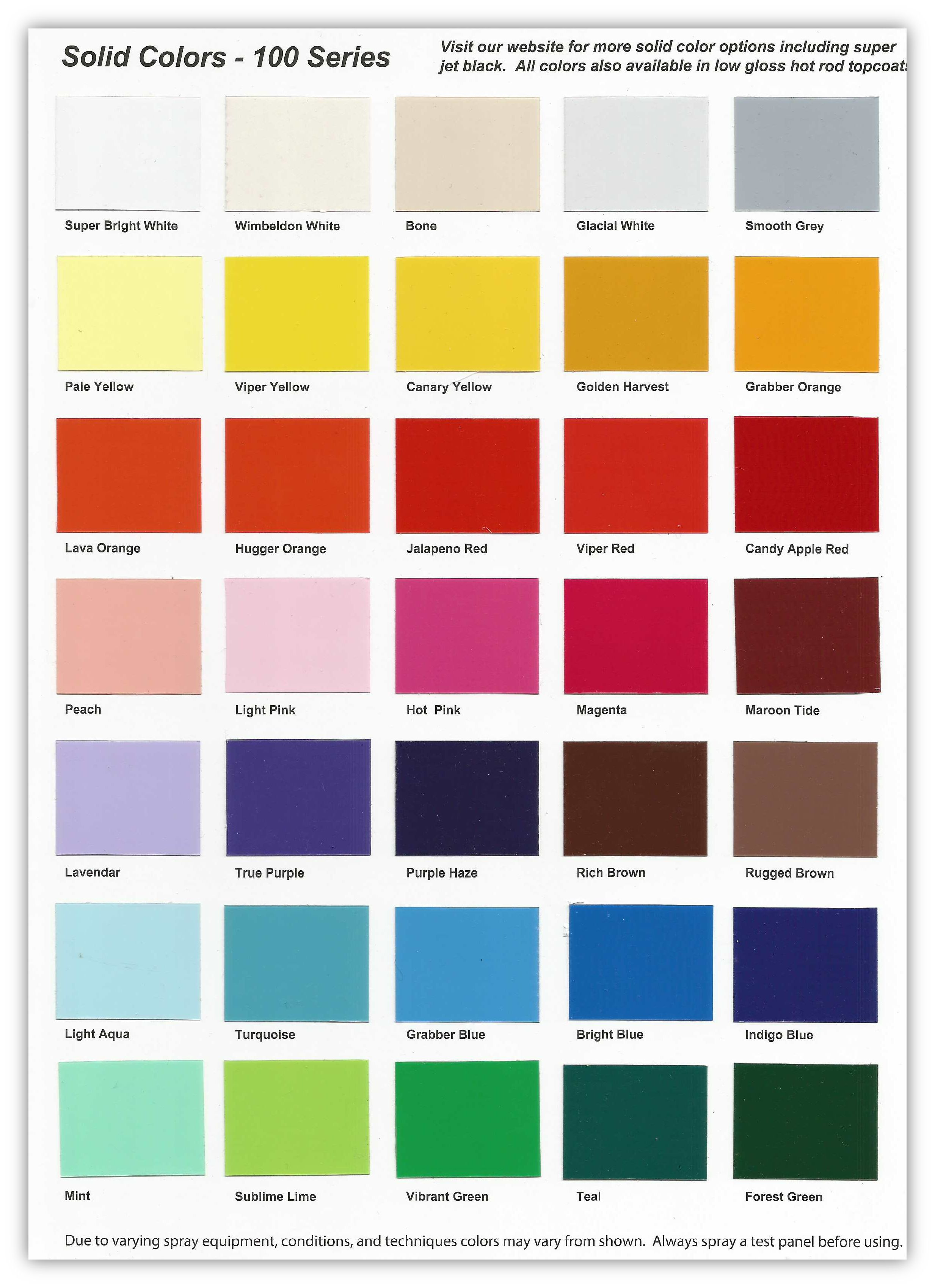 Autolak Kopen 100 Series Solid Color Chart Buy Custom Paint For Your