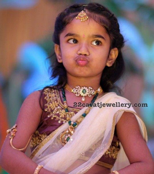 Baby In Diamond Choker Beads Set Indian Diamond Wedding