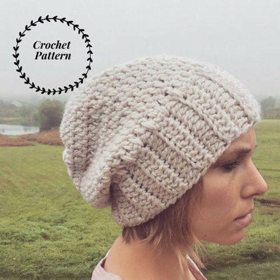 Crochet PATTERN Wanderer Slouchy Crochet Beanie | Beginner Crochet ...