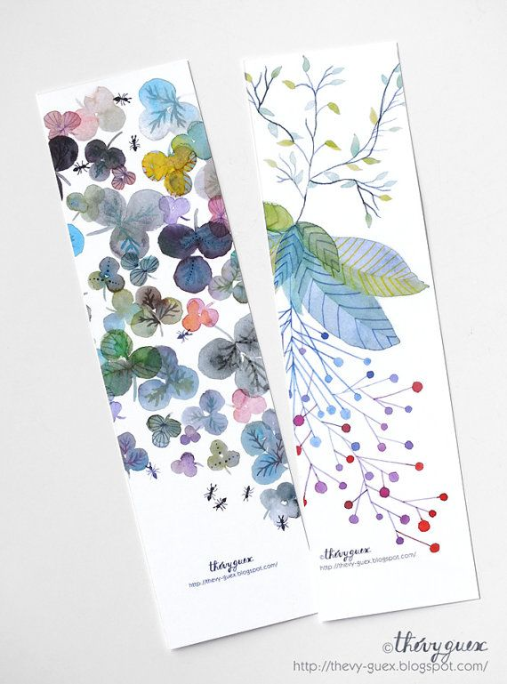 Flower botanical watercolor paper bookmarks, Floral bookmarks, Book ...