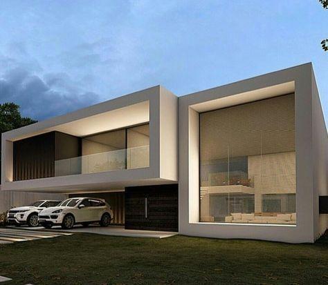2 volúmenes blancos, 2 partes de madera, 2 planos de vidrios, no son - fachadas contemporaneas