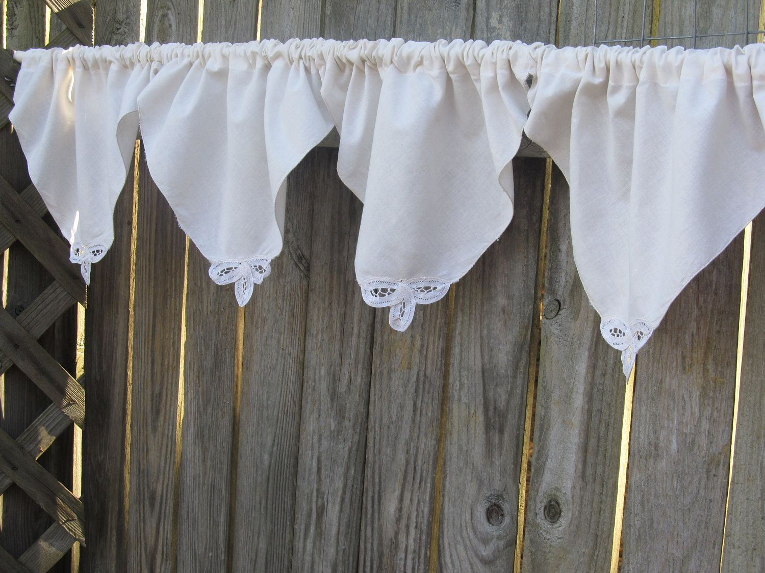 Cabin Country Primitive Point Window Curtain Valance With