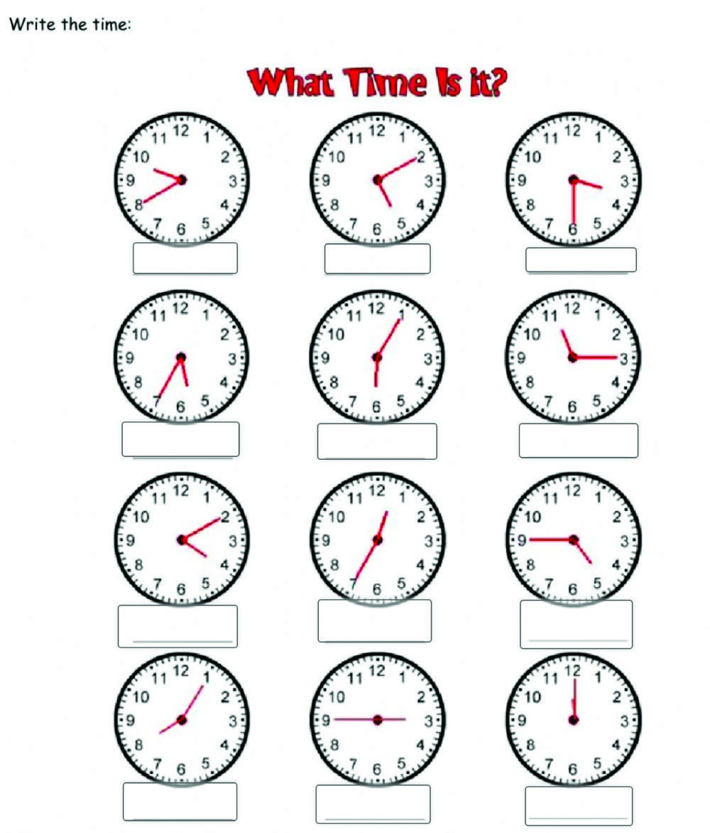 What time is it? Interactive worksheet Fichas