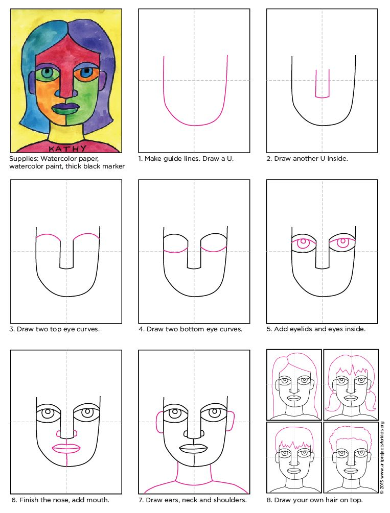 Draw an abstract self portrait portraits shapes and diagram draw an abstract self portrait art projects for kids ccuart